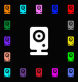 Web cam icon sign Lots of colorful symbols for vector image
