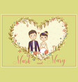 wedding invitation card with a lovely vector image