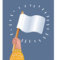 white flag surrender hand holding blank flag vector image vector image