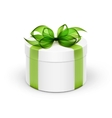 White Round Gift Box with Light Green Ribbon and vector image vector image