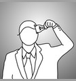 businessman put idea into his head vector image