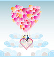 Lover on heart balloon flying among the cloud with vector image