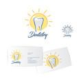 dentistry logo dentist business card vector image