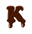 Letter K from latin alphabet made of chocolate vector image