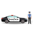 police patrol car and policeman officer isolated vector image