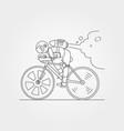 astronaut riding bicycle line art symbol design vector image vector image