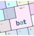 bat word on keyboard key notebook computer vector image vector image