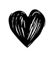 black hand drawn heart dry ink brush vector image vector image