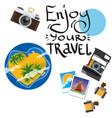 camera with photos polaroid design for summer vector image vector image