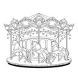 carousel merry go round coloring book vector image