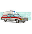 cartoon ambulance emergency retro long car vector image vector image