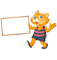 cat with blank banner vector image vector image