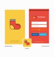 company socks splash screen and login page design vector image vector image