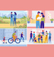 couple creating family set from dating parenting vector image