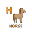 cute cartoon animals alphabet horse vector image