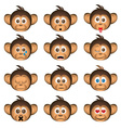 cute chimpanzee head with facial expression of vector image vector image