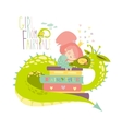 Cute princess sitting on pile of books and hugging vector image vector image