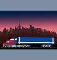delivery truck on city background vector image