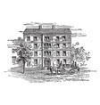 george washingtons house on broadway new york vector image vector image
