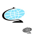 Globe Flat icon Earth ball character Planet earth vector image