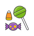 halloween sweets and candy filled outline icon vector image vector image