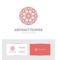 linear red flower logo vector image vector image