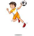 Man with ball playing handball vector image