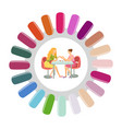 manicure round nails pallet manicurist and client vector image vector image