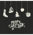 Merry Christmas Greeting On black Postcard retro vector image