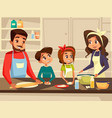 modern european family cooking at kitchen vector image