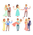 newlyweds dancing and have fun vector image vector image