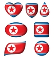 North Korean Flag in various shape glossy button vector image vector image