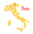pasta or italian macaroni italy map vector image vector image