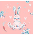 pink seamless pattern with cute bunny vector image vector image