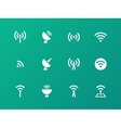 Radio Tower icons on green background vector image vector image