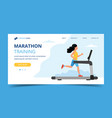 running landing page template woman running on vector image vector image