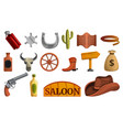 saloon icon set cartoon style vector image