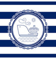 sea emblem with ship vector image vector image