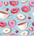 seamless pattern with high detail glazed donuts vector image