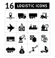 set black logistic icons vector image