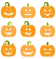 Set of Halloween pumpkins isolated on white vector image vector image