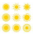 set of yellow sun icon symbols isolated on white vector image