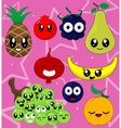 sticker set of cute cartoon vector image