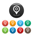 synagogue map pointer icons set vector image vector image