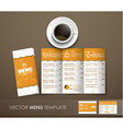 The mockup of the coffee menu with a cup of coffee vector image vector image