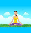 woman meditating on grass field vector image vector image