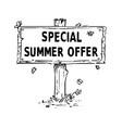 wooden sign board drawing with special summer vector image vector image