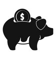 pig money icon simple black style vector image