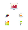 flat icon chart set of pie bar segment diagram vector image