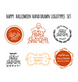 Happy Halloween hand drawn logotype set vector image